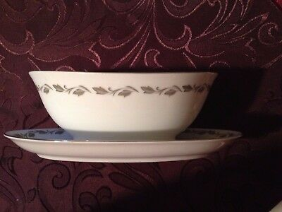 Flair Fine China Irene Japan Gravy Boat with attached under plate 4149