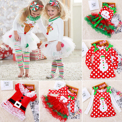 Toddler Girl's Kid Christmas Party Xmas Santa Long Sleeve Tulle Tutu Skirt Dress