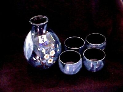 5pc  Blue Moon Japan sake bottle cherry blossom design blue drip glaze excellent