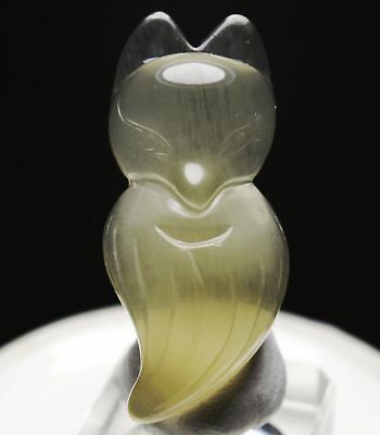 Fox ! Beautiful Natural Citrine Crystal Chinese Hand-Carved Fox Pendant