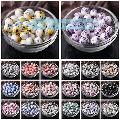 New 10/50pcs 12mm Flowers Pattern Ceramic Porcelain Loose Spacer Beads Findings
