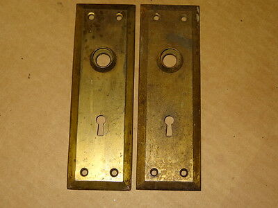2 Antique Vintage lg  Door Knob Back Plate steel Ornate Art Deco Key Hole Cover