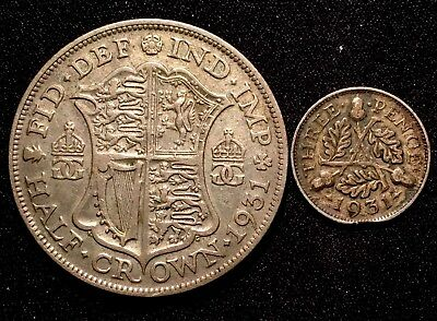 1931 Great Britain UK SILVER Half 1/2 Crown & 3 Pence Threepence