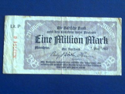 Germany -  1 Million Mark  Banknote 1923- Mannheim -Inflation - Very Fine Minus