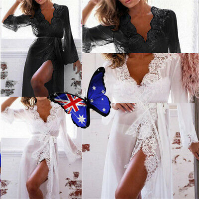 Women-Long-Sleeve-Lace-Dress-Sexy-Lingerie-Robe-Sheer-With-G-String-Night-Set E