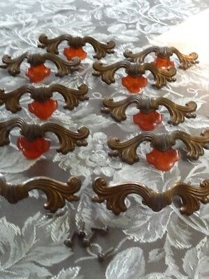 Lot of  10 Vintage Bakealite Metal Ornate Dresser / Desk Drawer Pulls / Handles