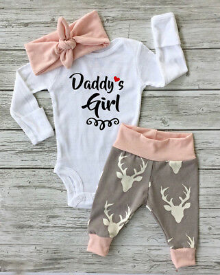 Kid Newborn Baby Clothes Daddy's Girl Romper Bodysuit Playsuit+Deer Pants Outfit