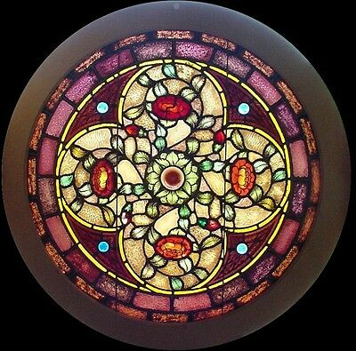 4 Antique American Round Stained Glass Windows- Povey Bro. Studio of Portland