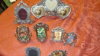 Ornate Metal Oval & square Mini Picture & Frames Shabby Chic Vintage Lot of 8