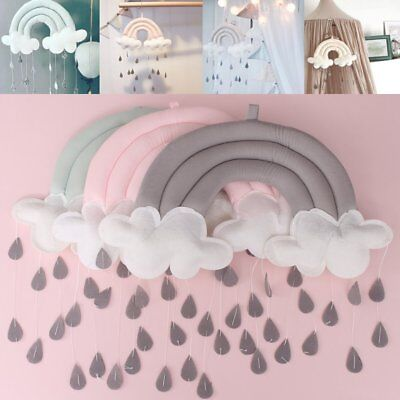 Rainbow Cloud Rain Drops Wall Hanging Photo Prop Baby Nursery Mobile Decor