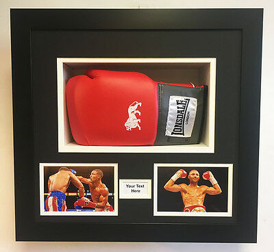 Readymade One Boxing Glove Display Frame Case,  2 Photos, 1 Title | Black Mount