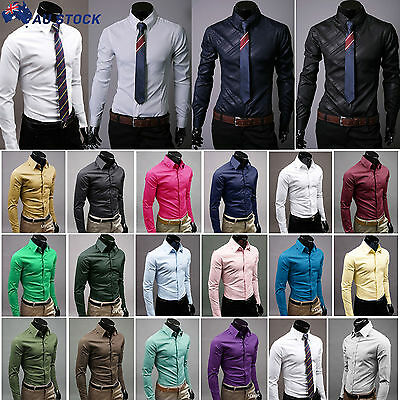 Mens Slim Fit Business Dress Shirts Long Sleeve Formal Luxury Casual Shirts Tops