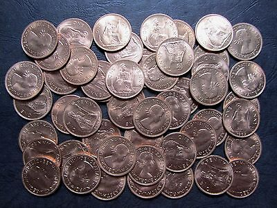 GREAT BRITAIN 1 Penny COIN 1967 KM-897 UNC WHOLESALE LOT 50 pcs ENGLAND UK QEII