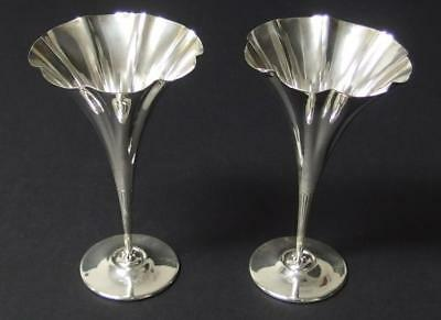 PAIR OF TIFFANY & CO. STERLING TRUMPET VASES Lot 21