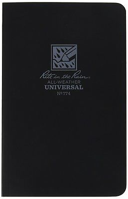 """Rite in the Rain All-Weather Soft Cover Notebook, 4 5/8"""" x 7 1/4"""", Black Cover,"""
