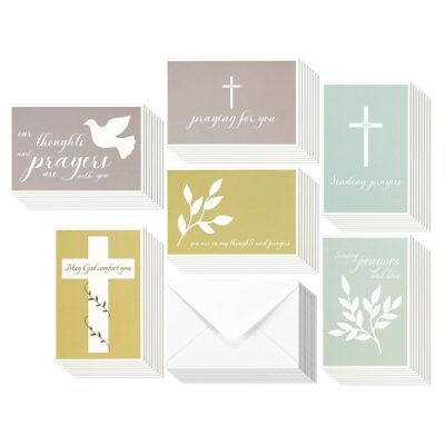 48 Pack Sympathy Greeting Cards Assortment Condolence Thinking of You Religious