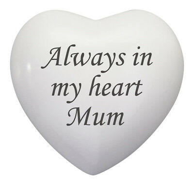 Always In My Heart Mum White Heart Urn Keepsake for Ashes Cremation Cremains