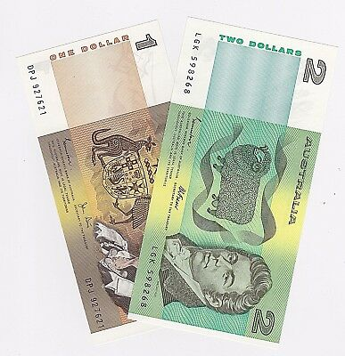 $1 One & $2 Two Dollar Australian (Unc) Notes - One Of Each Note (1982 & 1985)