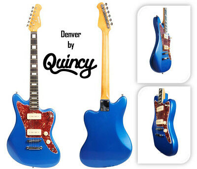B-Stock clearance Blue Denver by QUINCY Electric Guitar P90 bargain deal offer