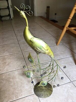 Vintage Lg Metal Yard Or Garden Peacock Decor W/ Jewels