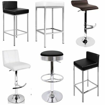 2PCS PU Leather Kitchen Chair Modern Bar Stool Chrome Bar Coffee Shop Chair Set