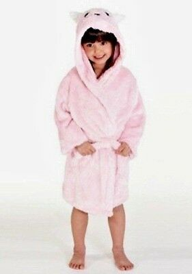 Girls Fluffy Pretty Super Soft Kitty Robe with Hood-Pink Dressing Gown - 2-3 Yrs