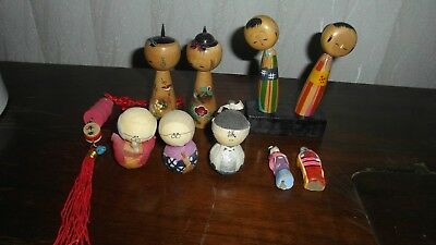Lot of 4 Wooden Bobble Head, Kissing Dolls from Japan