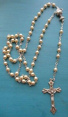 Rosary Rosaries Religious jewelry Silver tone Faux Pearl Pretty Christian Cross