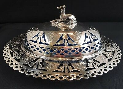 Very Fine Antique Silverplate Butter Dish With Dog Finial & Blue Opaline Insert