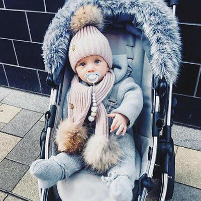 2PCS Newborn Baby Boy Girls Winter Warm Pom Bobble Knit Beanie Hat+Scarf Set New