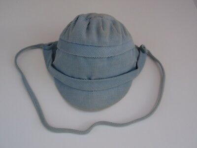 Vintage USA Union Made Baby Boy Blue Corduroy Cap Sunbonnet Hat Lined Pleated