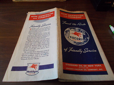 1938 Mobil New Hampshire/Vermont Vintage Road Map