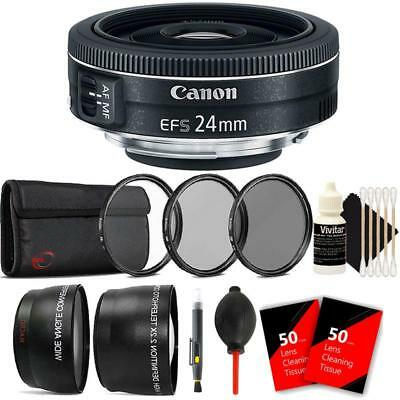 Canon EF-S 24mm f/2.8 STM Lens with Accessories For Canon 80D, 77D and 70D