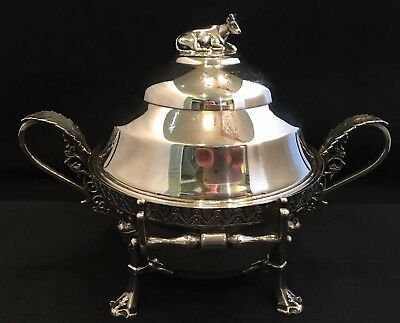 Antique Racine Silver Butter Dish, Cow Finial Asethetic Design, Raised Medallion