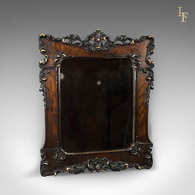 Antique Wall Mirror in Oak Frame, Late Victorian, English c.1890