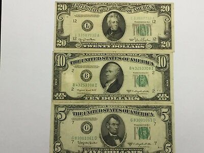 LOT(3 pc) $5 $10 $20 1950 GREEN SEAL FEDERAL RESERVE NOTES(FRN)-CURRENCY ++#!20