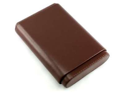 Brown Leather 5 Finger 56 Ring Gauge Cigar Case Holder with Cedar Lining