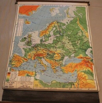 Vintage Pull Down School Map - Canvas Back - 1950