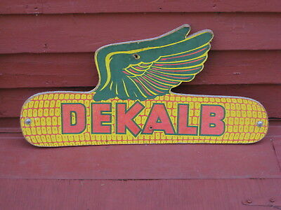 Antique Farm DEKALB SIGN DOUBLE 2 SIDED FLYING EAR CORN COB FEED Old Advertising