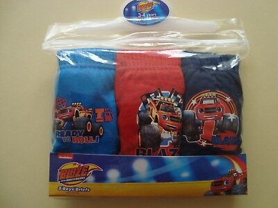 Blaze And The  Monster Machines Boys Pants Underwear 3 Pairs 100%Cotton Official