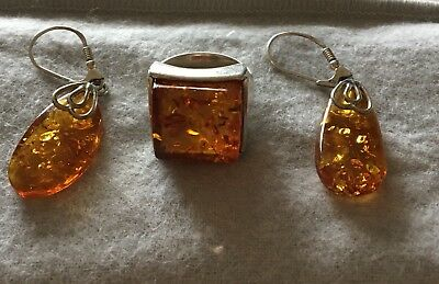 Nice Amber Earring And Ring Set