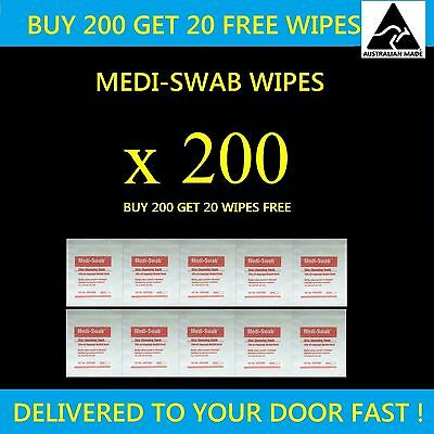 200 Plus 20 Free Alcohol Wipes Medical Wipes Medi Swabs Sterile Screen Wipes