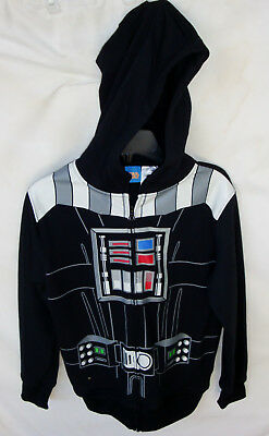 Star Wars Black Darth Vader Zip Front Long Sleeve Hoodie Boy Size 14/16 Nwt