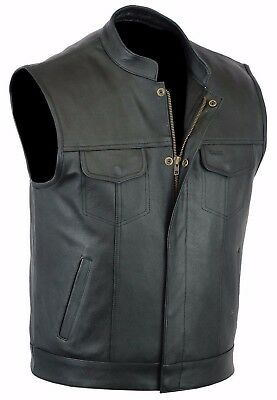 "Mens Son Of Anarchy Real Leather "" Cut Off "" Motorcycle Biker Waistcoat/Vest"