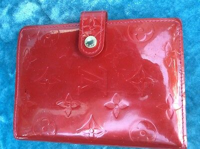 "Authentic LOUIS VUITTON Vernis Notebook cover Agenda Red Case PM 5.5""H x 3.9""W"