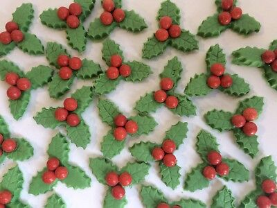 15 Edible Cup Cake Toppers Cake Decorations Christmas Festive Mini Holly