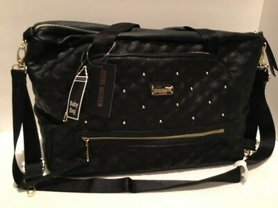 NWT Steve Madden XL Quilted Bzora Baby Diaper Bag Black With Gold MSRP $138.99