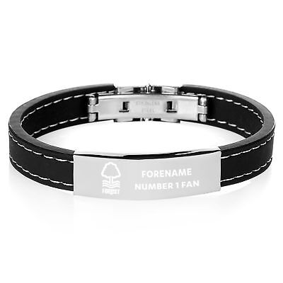 Official PERSONALISED Nottingham Forest FC Steel & Rubber Bracelet Football Gift