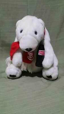 Coca-Cola Plush Polar Bear w/ Coke Bottle & Scarf 1993 in Great Condition
