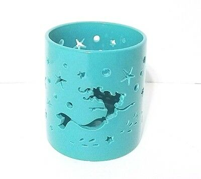 Disney Parks Ariel The Little Mermaid Nautical Aqua Blue Candle Holder Seahorse
